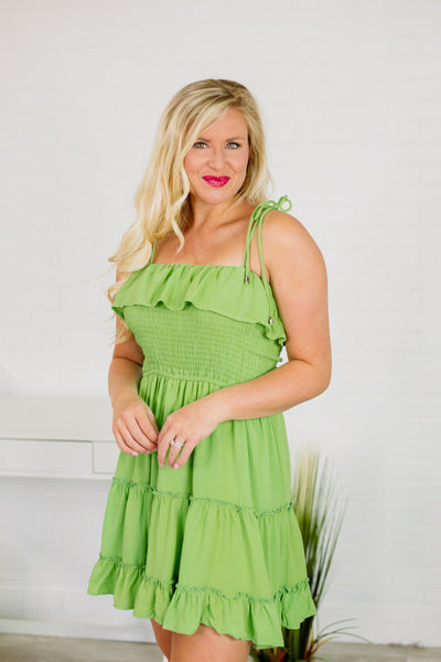 {Last Chance} Isabelle Smocked Dress ~ Lime *FINAL SALE* - Be You Boutique