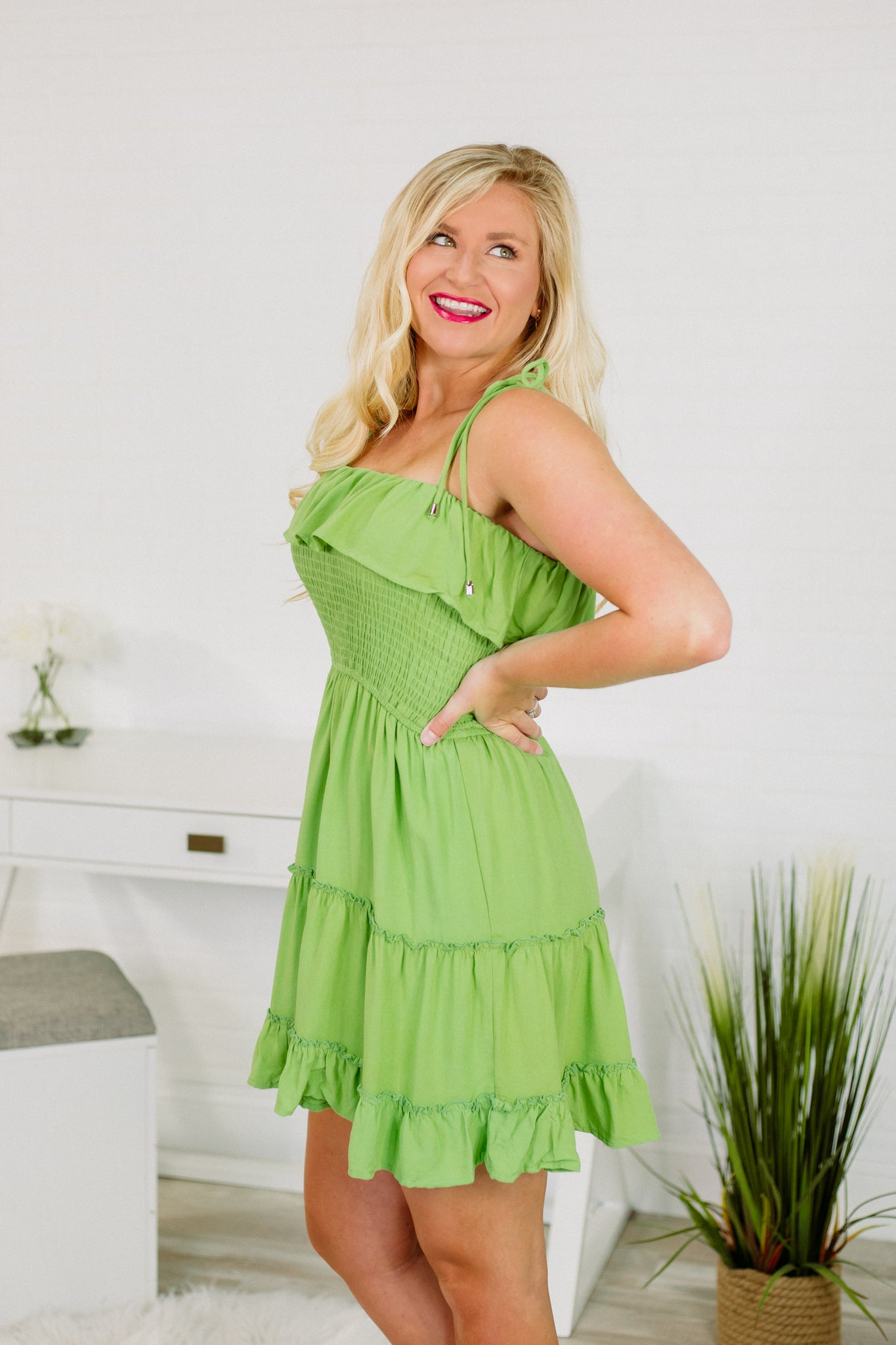 {Last Chance} Isabelle Smocked Dress ~ Lime
