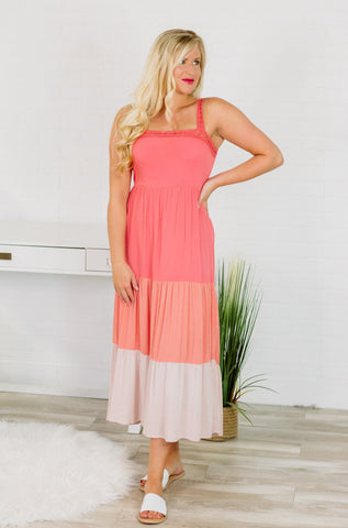 {Last Chance} Maria Color Block Maxi Dress ~ Coral *FINAL SALE* - Be You Boutique