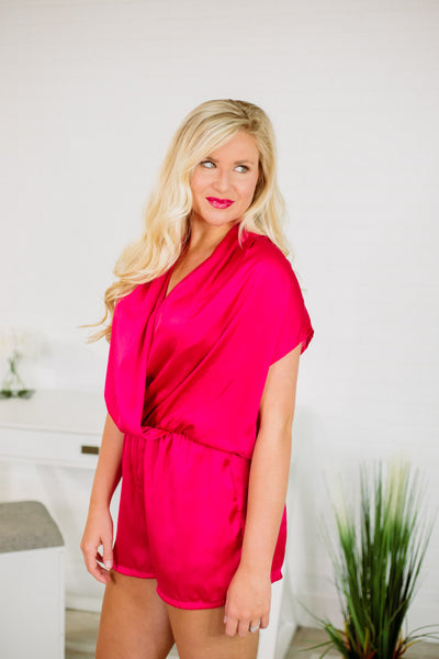 {Last Chance} Aubree Wrap Front Romper ~ Fuchsia *FINAL SALE* - Be You Boutique