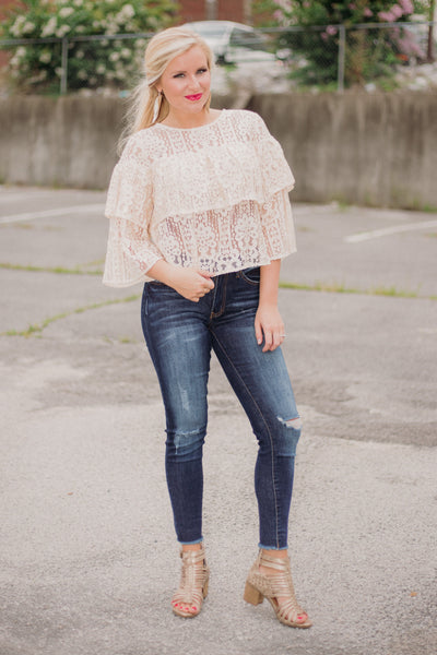 Jackie Lace Top ~ Beige