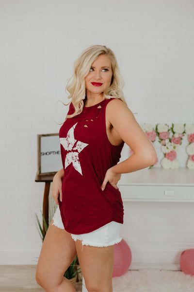 *New* Serenity Distressed Star Graphic Tank Top ~ Merlot