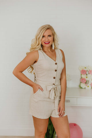 *NEW* Stella Natural Button Up Romper ~ Natural