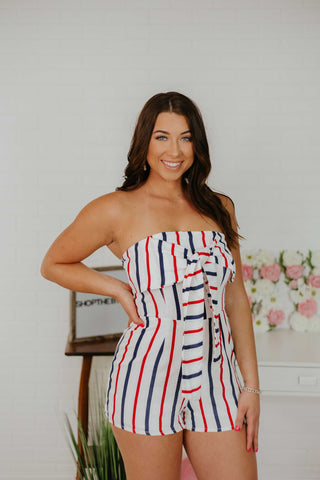 *NEW* Nova Stripe Front Tie Romper ~ White, Red, & Navy