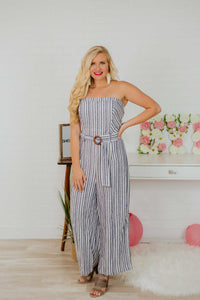 {Last Chance} Paisley Striped Jumpsuit ~ Navy *FINAL SALE* - Be You Boutique