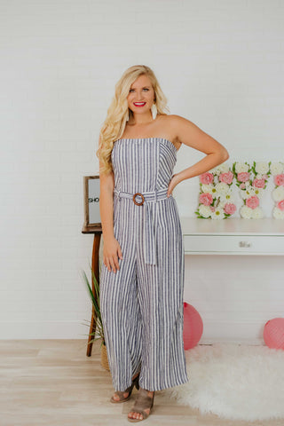 *NEW* Paisley Striped Jumpsuit ~ Navy