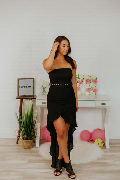 {Last Chance}  Maya High Low Tube Dress with Belt ~ Black