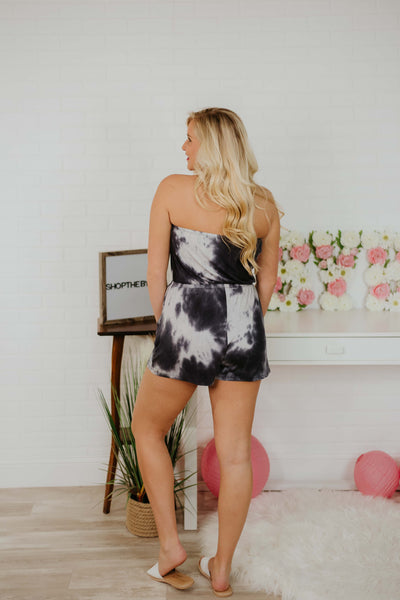 {Last Chance} Piper Tube Tie Dye Romper ~ Black *FINAL SALE* - Be You Boutique