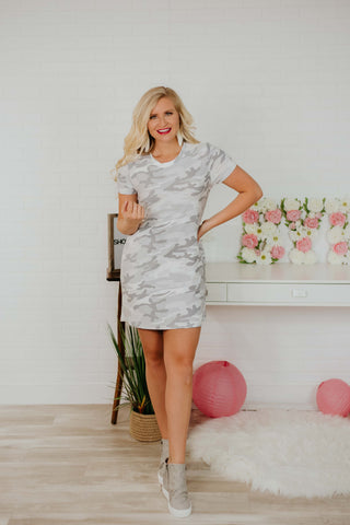 *NEW* Lucy Camo Tee Dress With Open Back ~ Ivory Camo
