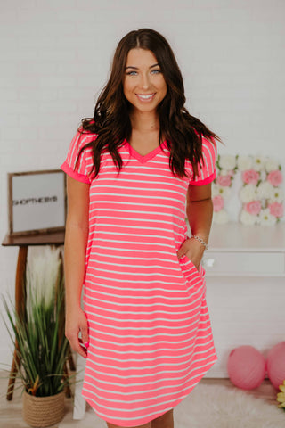Nevaeh V Neck Striped Dress ~ Neon Pink
