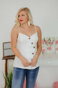{Last Chance}  Allison Button Front Wrap Tank ~ Off White