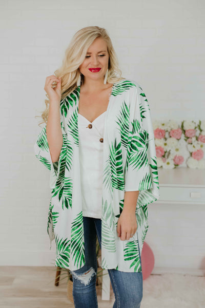 {Last Chance} Naomi Tie Front Tropical Print Kimono ~ Green Multi