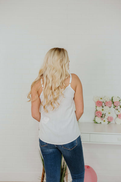 {Last Chance}  Alice V Neck Sleeveless Top ~ Off White