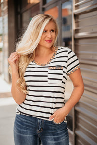 McKenzie V Neck Stripe Top with Leopard Detail ~ Off White / Black