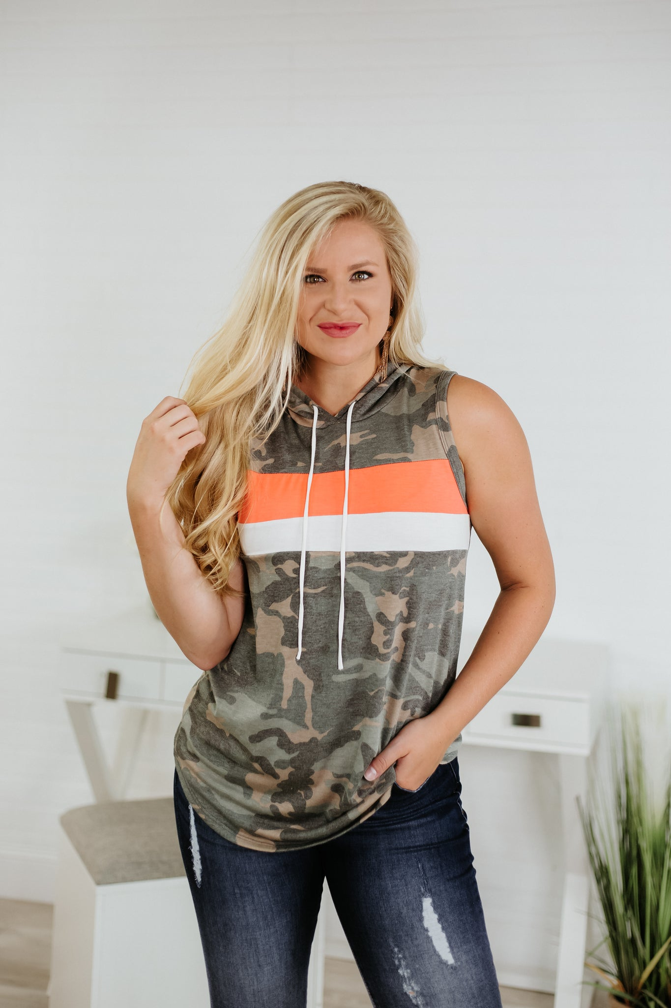 Trinity Camo Hooded Sleeveless Top ~ Camo / Neon Coral