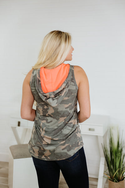*NEW* Trinity Camo Hooded Sleeveless Top ~ Camo / Neon Coral