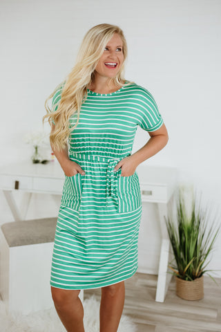 {Last Chance}  Short Sleeve Stripe Dress with Pockets ~ Green