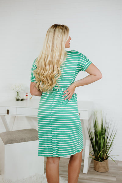 Teagan Short Sleeve Stripe Dress with Pockets ~ Green