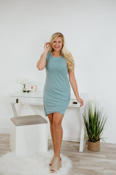 {Last Chance}  Diana Short Sleeve Side Ruched Dress ~ Stone Blue