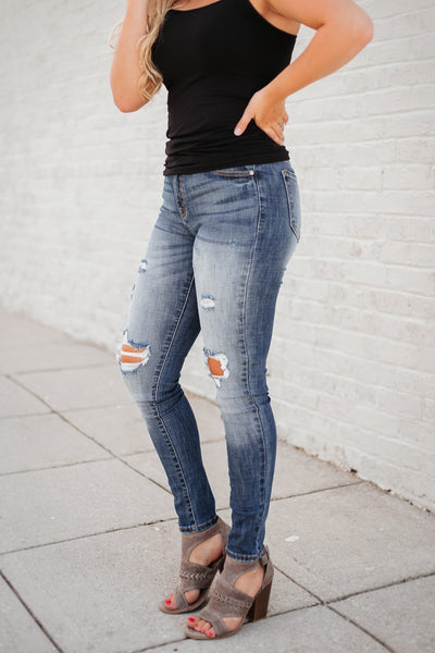 *NEW* Kancan Journee Skinny Jeans with Distressing ~ Light Wash