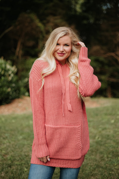 *NEW* Lilah Long Sleeve Sweater with Hoodie ~ Ash Rose - ShopBeYouBoutique