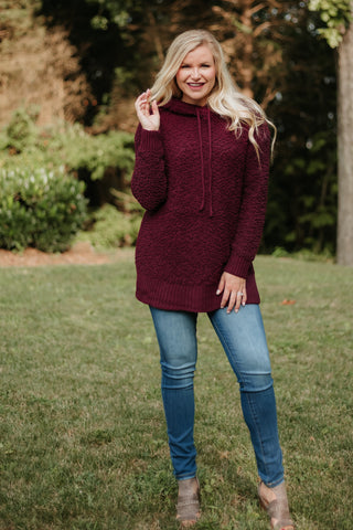 *NEW* Kate Long Sleeve Popcorn Hoodie ~ Dark Burgundy