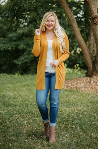 *NEW* Elsie Everyday Long Knit Cardigan with Pockets ~ Mustard - ShopBeYouBoutique
