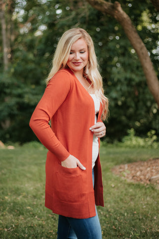 {Last Chance} Elsie Everyday Long Knit Cardigan with Pockets ~ Rust *FINAL SALE* - Be You Boutique