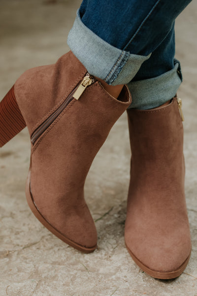 *NEW* Tiber Suede Booties ~ Nutmeg - ShopBeYouBoutique