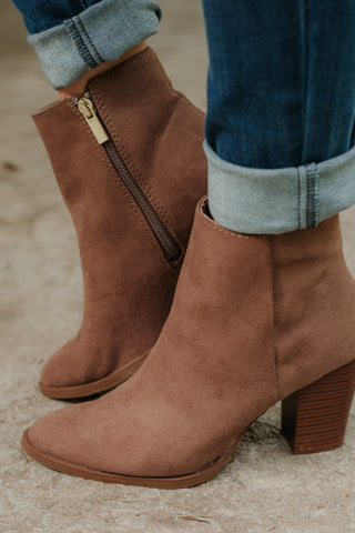 *NEW* Tiber Suede Booties ~ Nutmeg