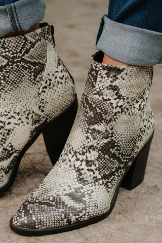 {Last Chance} Snatch Snake Print Western Booties ~ Black &  Stone *FINAL SALE* - Be You Boutique