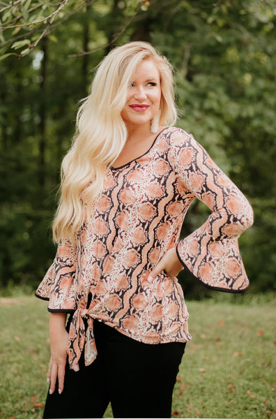 {Last Chance} Sam Snake Print V Neck Top / Bell Sleeves ~ Rust *FINAL SALE* - Be You Boutique