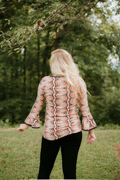 *New* Sam Snake Print V Neck Top / Bell Sleeves ~ Rust - ShopBeYouBoutique