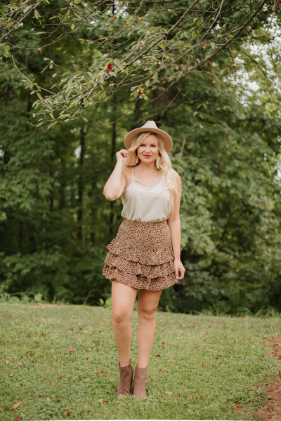 {Last Chance}  Animal Print Ruffle Skirt ~ Brown *FINAL SALE* - Be You Boutique