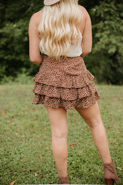 *NEW* Kylee Animal Print Ruffle Skirt ~ Brown - ShopBeYouBoutique