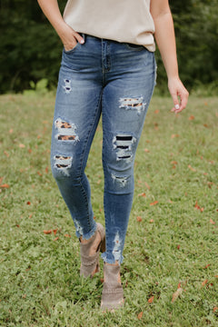 Kancan Marisol Distressed Jeans with Leopard ~ Dark Wash