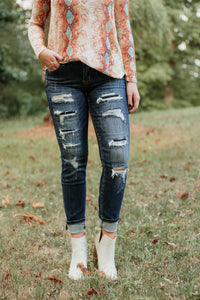 *NEW* Kancan Octavia Distressed Ankle Skinny Jeans ~ Dark - ShopBeYouBoutique