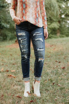{Last Chance} Kancan Octavia Distressed Ankle Skinny Jeans ~ Dark