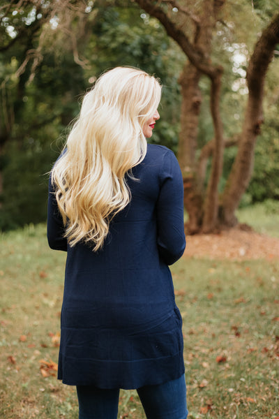 Elsie Everyday Long Knit Cardigan with Pockets ~ Navy - Be You Boutique