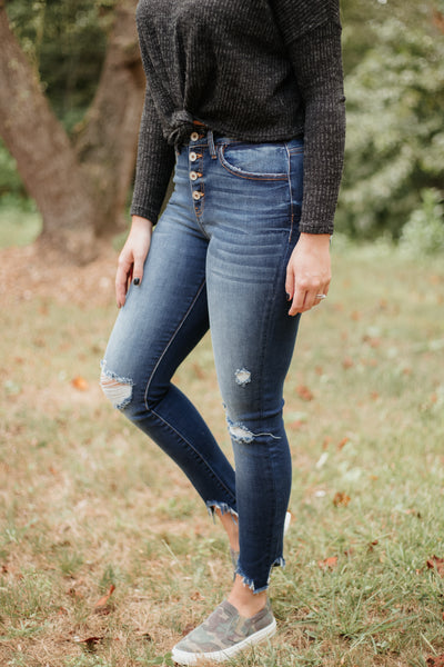 {Last Chance}  Kancan Henree Button Fly Distressed Ankle Skinny Jeans ~ Dark - Be You Boutique
