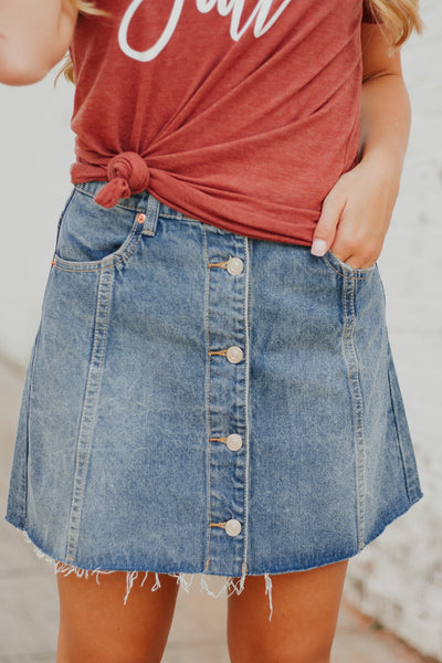 {LAST CHANCE} Katie Denim Skirt ~ Lt Denim