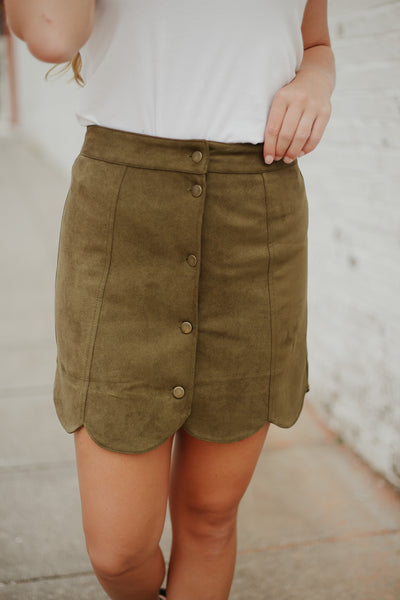 {Last Chance} Oh My Suede Scalloped Skirt ~ Olive