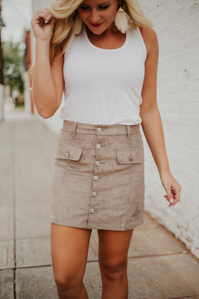 {Last Chance} Oh My Suede Button Down Mini Skirt ~ Mocha