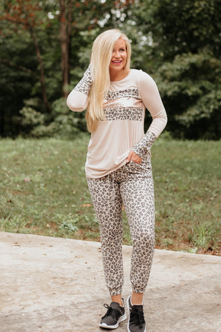 *NEW* Mallie Animal Print Jogger & Top Set ~ Taupe - ShopBeYouBoutique