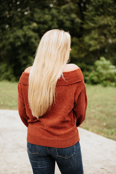 *NEW* Paris Off Shoulder Chenille Puff Sleeve Sweater ~ Brick - ShopBeYouBoutique