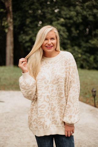 Addison Leopard Print Long Sleeve Sweater ~ Taupe