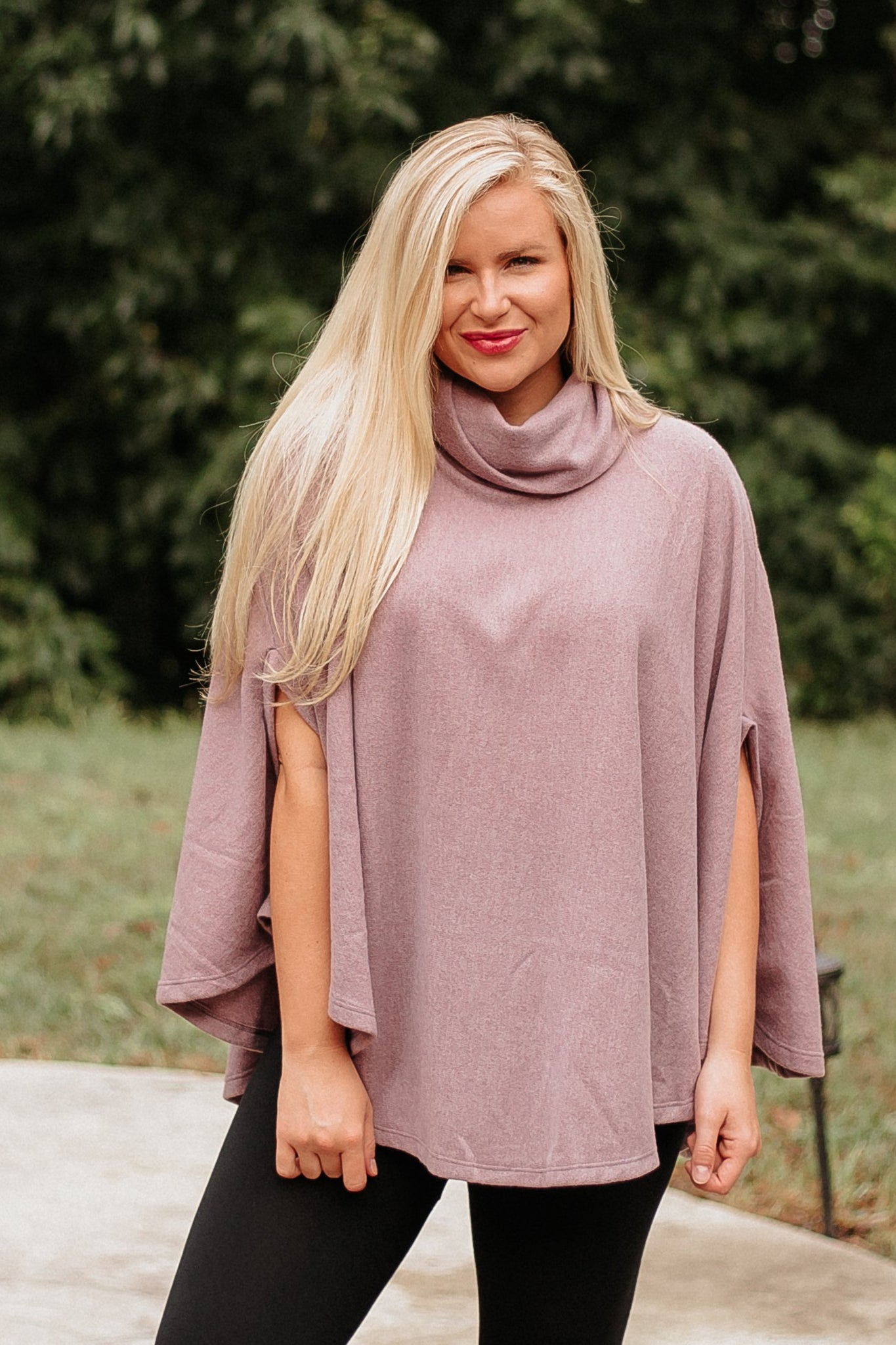 *NEW* Serena Loose Fit Poncho Top ~ Mauve - ShopBeYouBoutique
