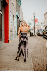 *NEW* Stylin' Stripe Romper ~ Black & Taupe