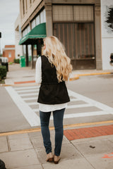 *NEW* Marty Military Faux Fur Vest ~ Black