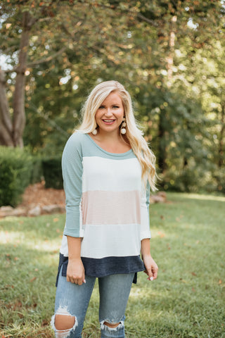 *NEW* Lena Colorblock Tunic ~ Jade / Off White/ Pink